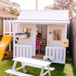 Club House Cubby with white Picnic Table