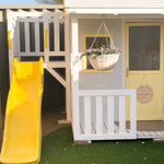 Cubby House Fort with Yellow Slide and Hanging Basket