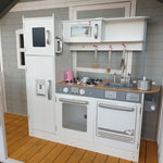 Large White Wooden Kitchen with Fridge