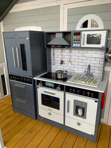 INSTOCK Grey & White Play Kitchen with Seperate Fridge