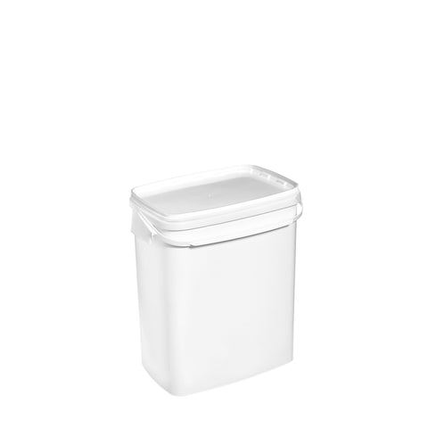 11Ltr White rectangular pail with plastic handle
