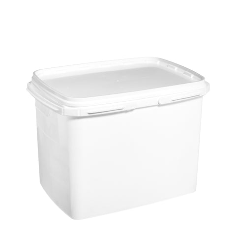 20Ltr White rectangular pail with plastic handle - 20 qty