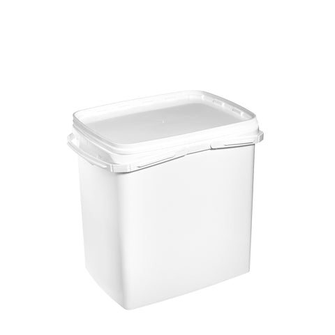 25Ltr White rectangular pail with plastic handle - 20 qty