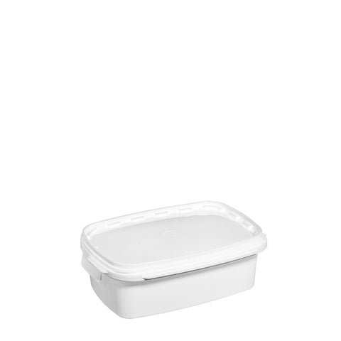 3Ltr White rectangular pail with plastic handle - 50 qty