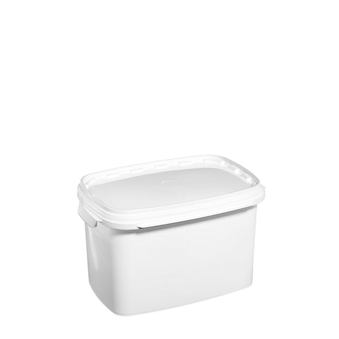 6Ltr White rectangular pail with plastic handle - 25 qty