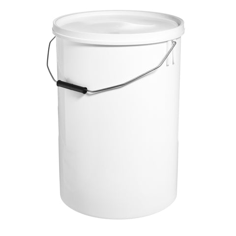 25Ltr White Pail with Metal Handle - 10 qty