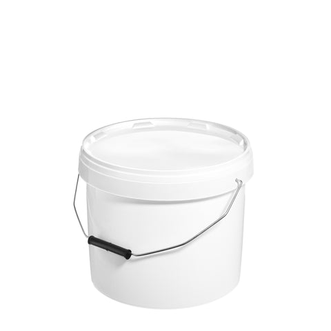 10Ltr White Pail with Metal Handle