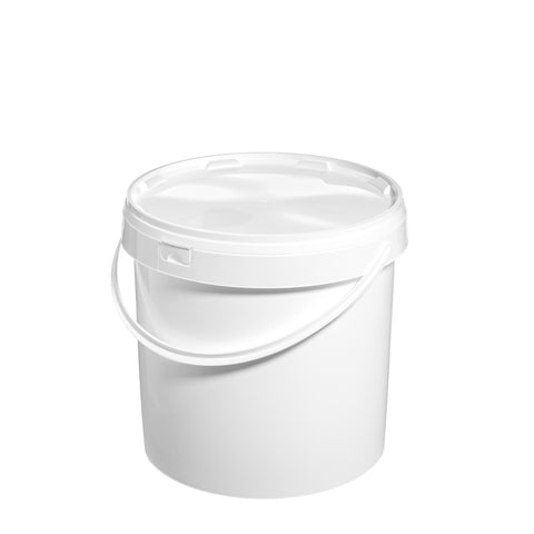 12.5Ltr White Pail with Plastic Handle - 25 qty