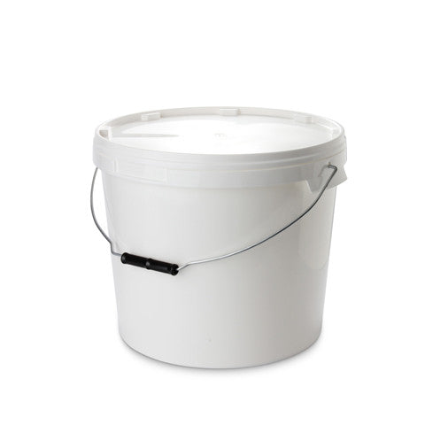 15Ltr White Pail with Metal Handle - 25 qty