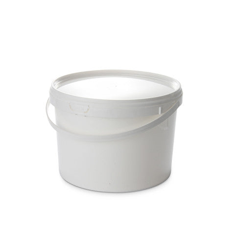 2.5Ltr White Pail with Plastic Handle - 50 qty