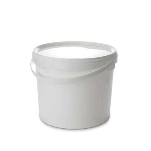 3Ltr White Pail with Plastic Handle - 50 qty