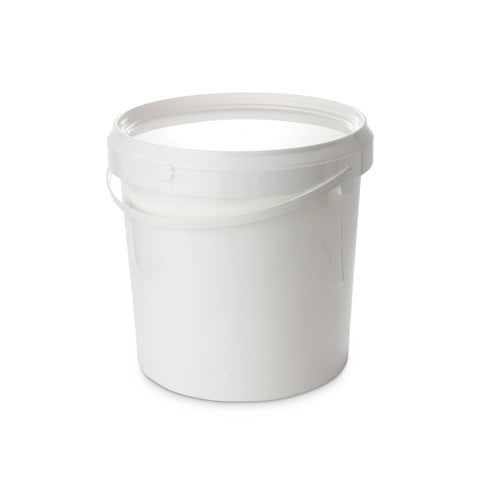 10Ltr Tall White Pail with Plastic Handle - 25 qty