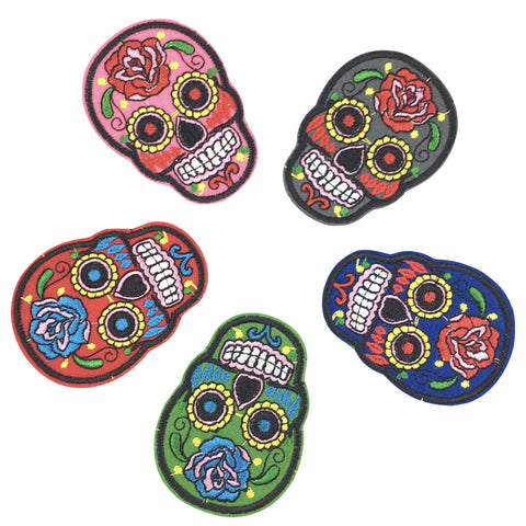 gekleurde skull patches