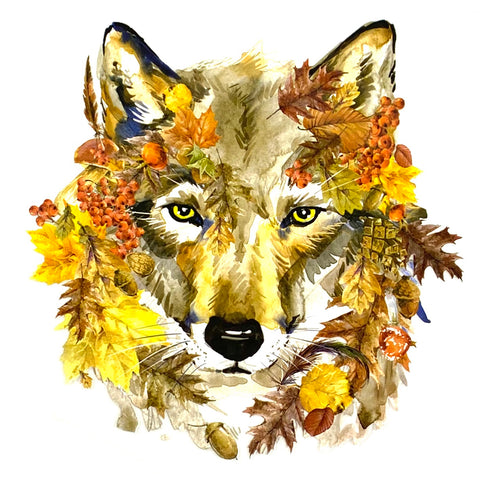 Wolf Herfst Full Color Strijk Applicatie