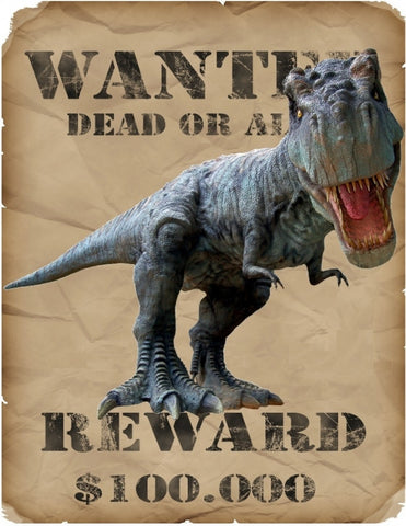 Dinosaurus T-Rex Strijk Applicatie Met Wanted Dead Or Alive Tekst