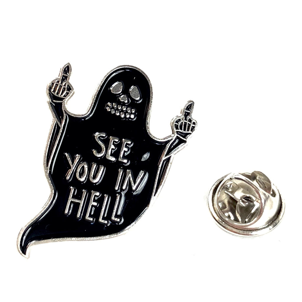 Emaille Pin Van Een Spook Met See You In Hell Tekst