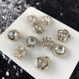New Style Women Fashion Decoratie Diamant Pin Broche Set op een wit kartonnen kaartje