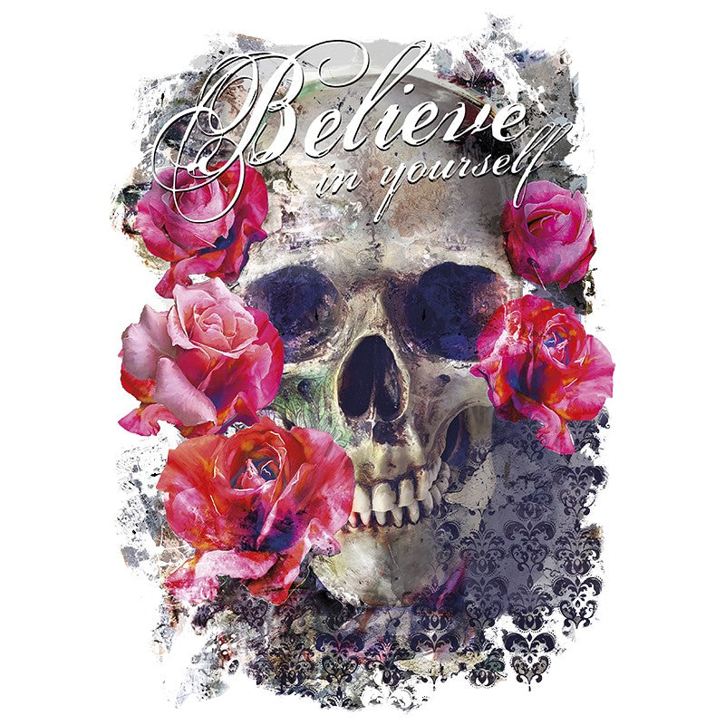 Doodskop / skull omringd met rood roze rozen en Believe In Yourself Tekst Strijk XXL Applicatie