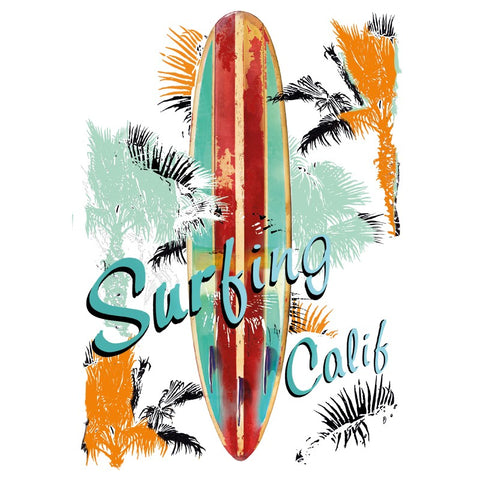 Surfing Calif Tekst Strijk Applicatie