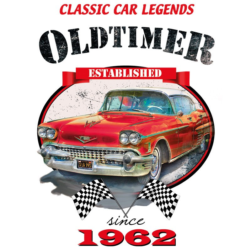 Applicatie met classic car legends oldtimer established since 1962 tekst  en rode vintage auto