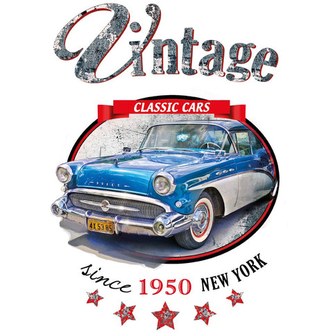 Applicatie van een blauwe vintage classic auto met de tekst classic cars since 1950 New York.