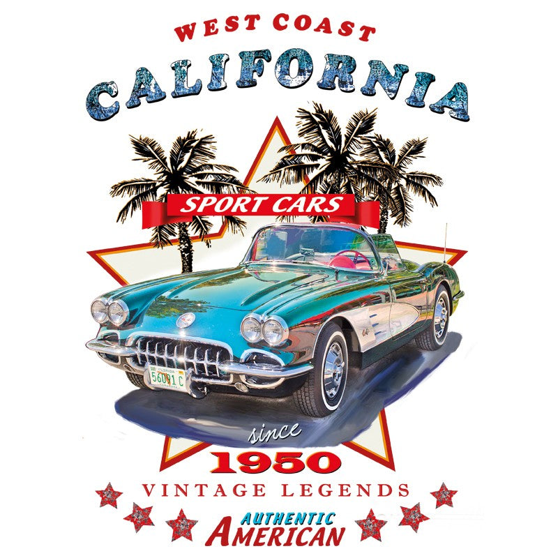 Applicatie van een blauwe vintage oldtimer car en teksten zoals west Coast California sport cars since 1950 vintage legends en authentic American