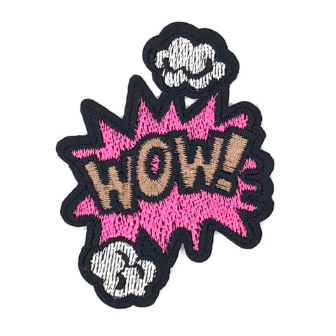 Comic Style WOW Tekstwolk Strijk Patch