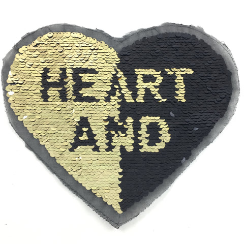 Goud Zwart Hart Reversible Paillette XXL Patch