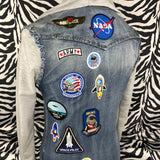 United States Of America Astronaut Tekst Met Space Shuttle Patch
