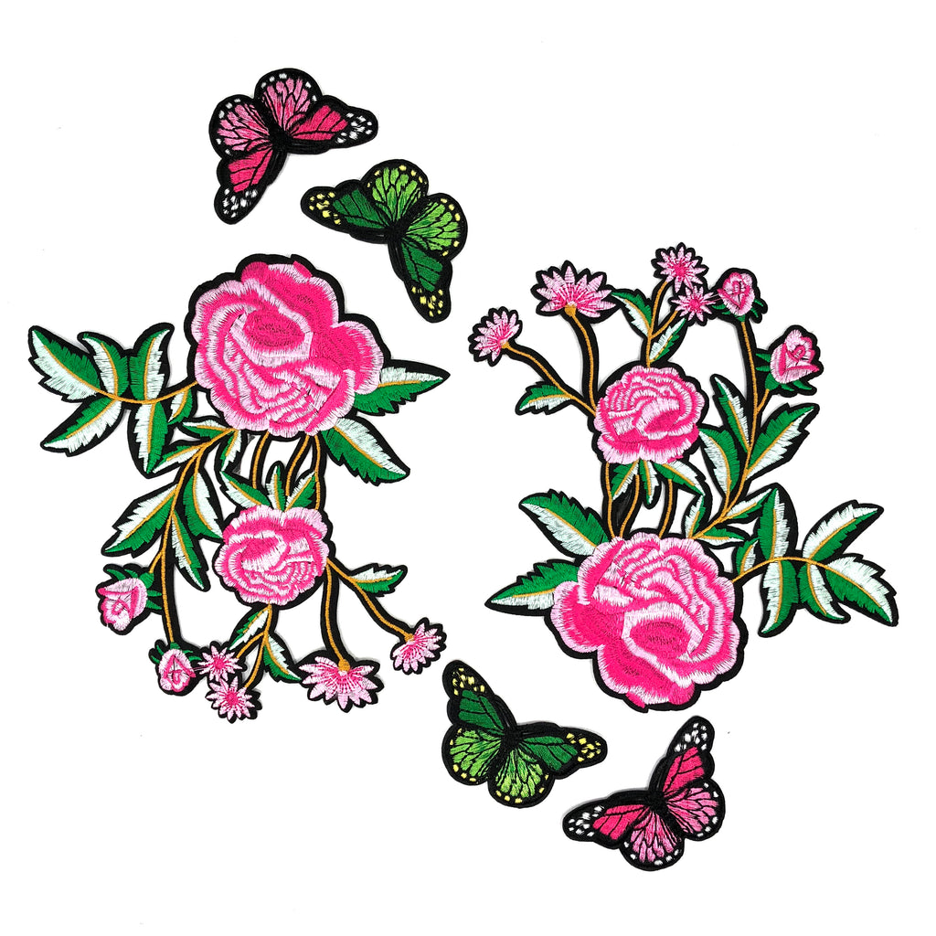 Butterfly's On Pink Roses Patch Set