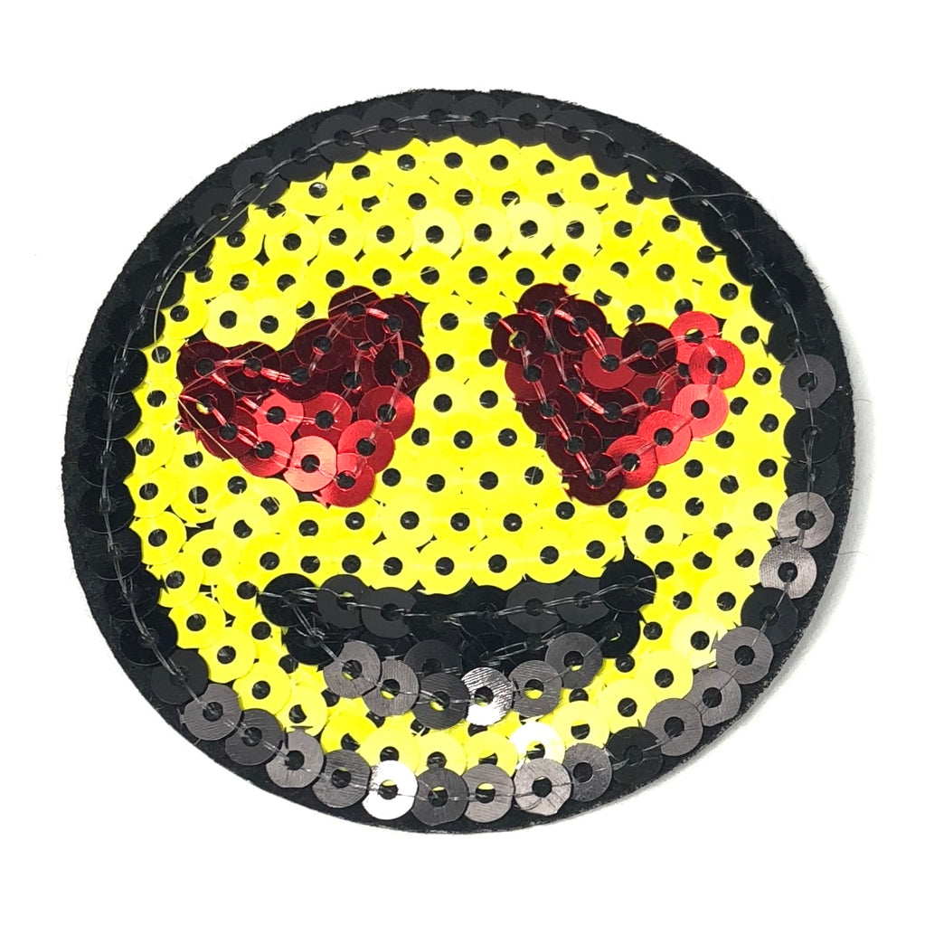 Gele Paillette Smiley Emoji Patch Met Hartjes Ogen