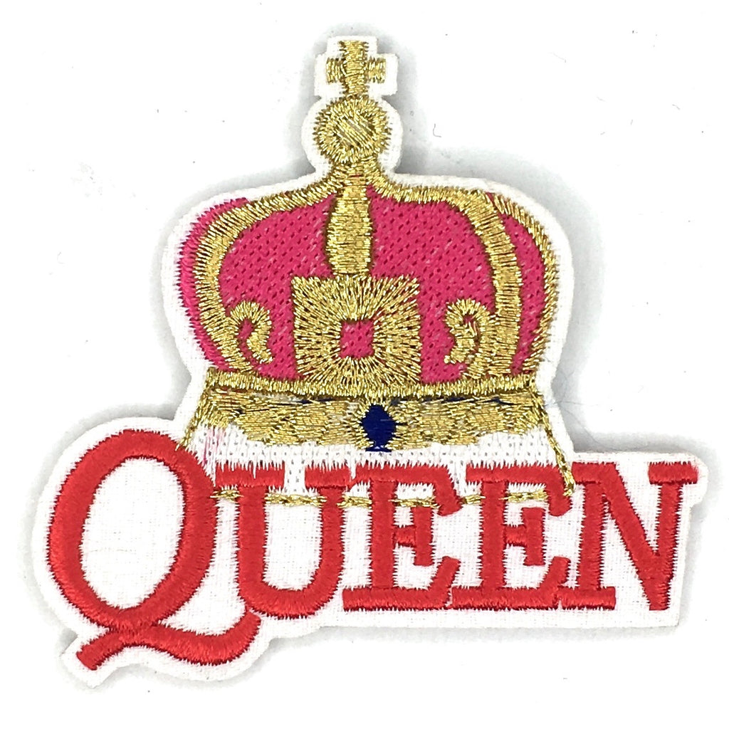 Goud En Roze Kroon Met Rode Queen Tekst Patch