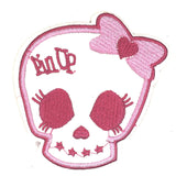 Wit Met Roze Skull Doodskop Patch Met Pin Up Tekst