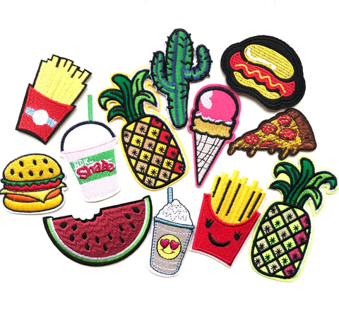 Fastfood Strijk Patch Set met 12 strijk patches