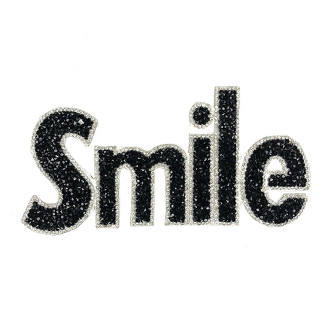 Smile Tekst Van Crystal En Strass Steentjes XL Patch