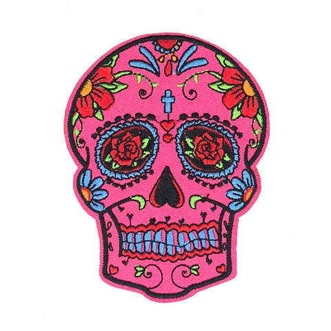Fel roze sugar skull patch met decoraties