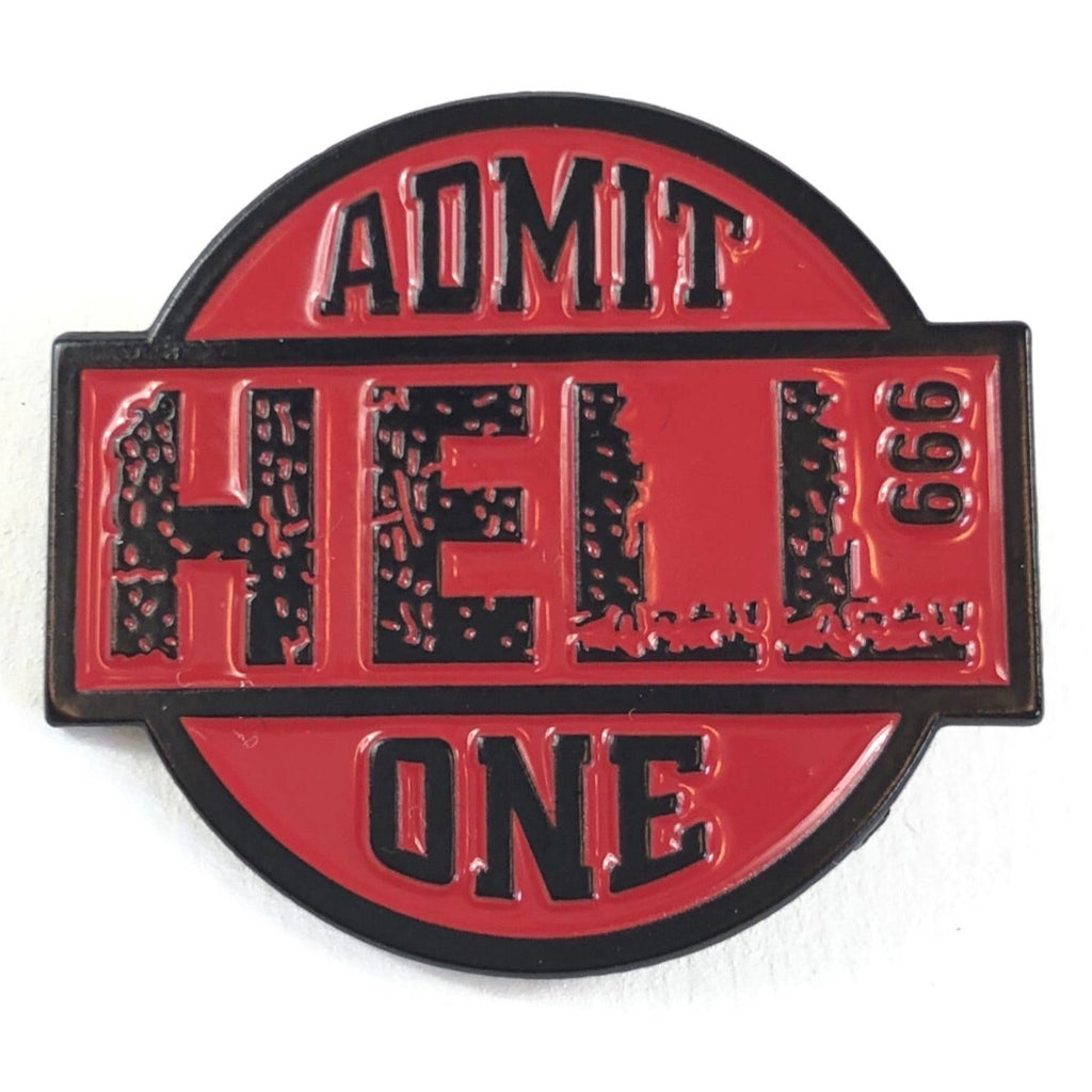 Rode Admit Hell 999 One Tekst Emaille Pin