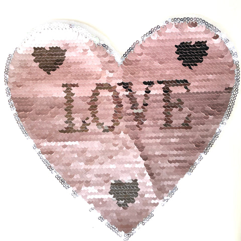 Roze Reversible Paillette Hart XXL Op Naai Patch Met Love Tekst