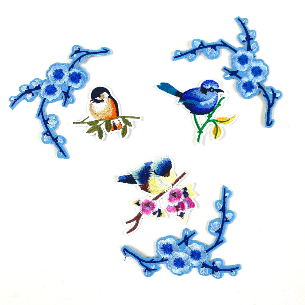 Blue Bird And Blossom Patch Strijk Set