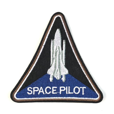 Driehoekig Space Pilot Tekst Embleem Met Space Shuttle Strijk Patch