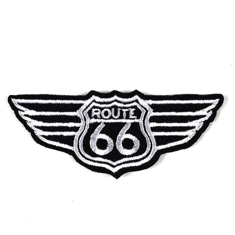 Zwart Wit Route 66 Embleem Strijk Patch Met Wings