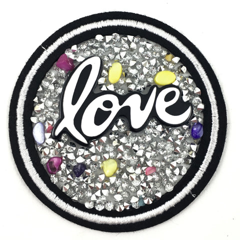 Ronde Love Met Crystal Steentjes Patch