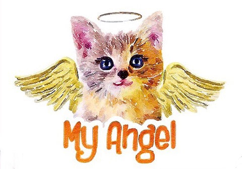 Kitten Met Vleugels En MY Angel Tekst Strijk Applicatie