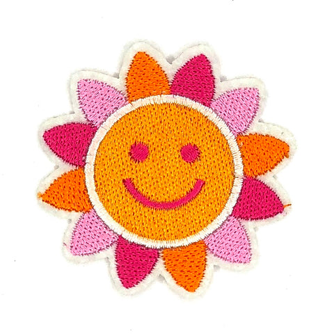 Oranje Roze Zon Smiley Strijk Patch