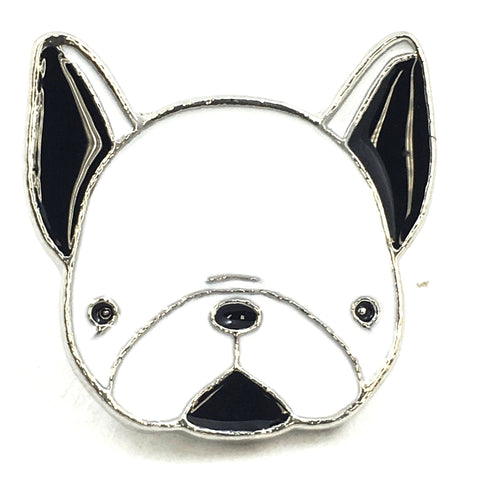 Witte Franse Bulldog Hond Emaille Pin