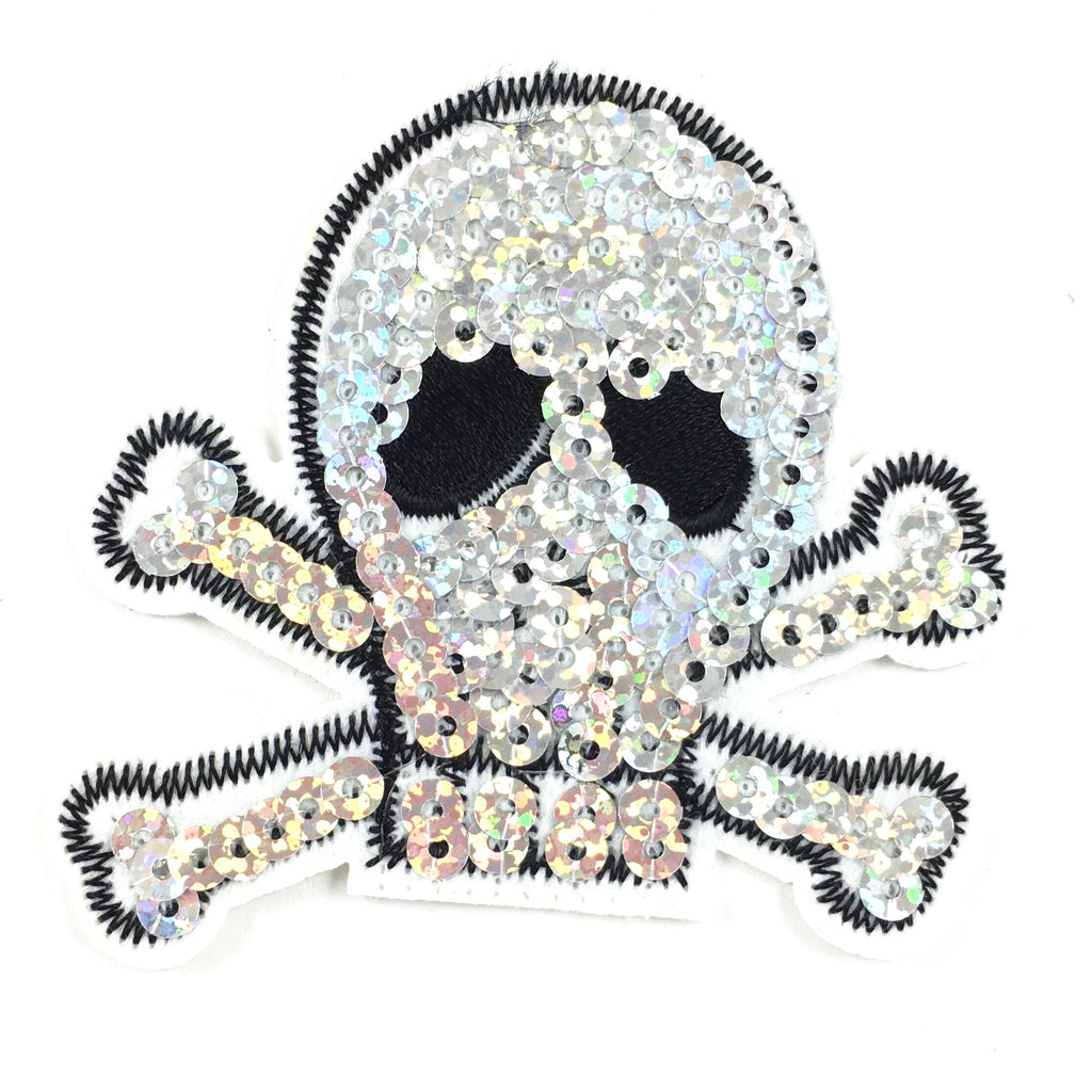 Zilveren Paillette Skull and Bones Patch