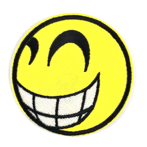 Breed Lachende Emoji Smiley Strijk Patch