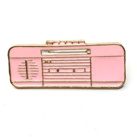 Retro Roze Radio Emaille Pin