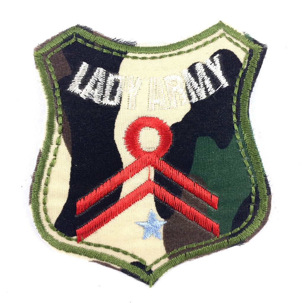 Legergroene Camouflage Lady Army Tekst Strijk Patch