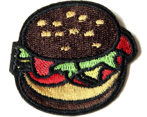 Donker Bruin Broodje Hamburger Patch